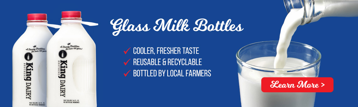 Glass milk bottles - grocery home delivery in NJ